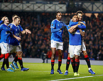 12.12.2019 Rangers v Young Boys Bern: Alfredo Morelos celebrates his goal for Rangers with Connor Goldson and Joe Aribo