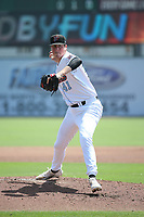 Cooper Criswell (41) of the Inland Empire 66ers pitches against the Lake Elsinore Storm at San Manuel Stadium on June 5, 2019 in San Bernardino, California. (Larry Goren/Four Seam Images)