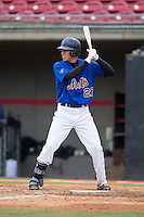 Dylan Thompson (27) of Socastee High School in Myrtle Beach, South Carolina playing for the New York Mets scout team at the South Atlantic Border Battle at Doak Field on November 1, 2014.  (Brian Westerholt/Four Seam Images)