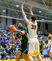 University at Albany men's basketball defeats Binghamton University 71-54  at the  SEFCU Arena, Feb. 27, 2018. Matt Conway (#33) defends a shot by Willie Rodriguez (#42), Binghamton's leading scorer. (Bruce Dudek / Cal Sport Media/Eclipse Sportswire)