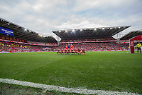 The Wales team line up ahead of the FIFA World Cup Qualifier match between Wales and Georgia at the Cardiff City Stadium, Cardiff, Wales on 9 October 2016. Photo by Mark  Hawkins / PRiME Media Images.