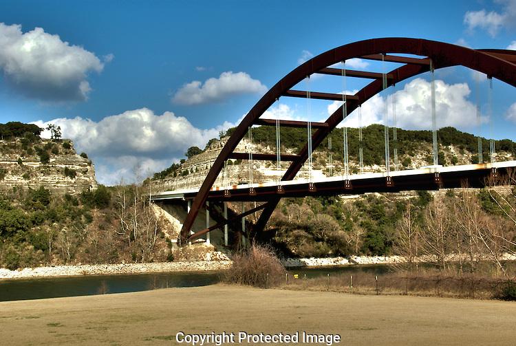 View from below the Pennybacker Bridge over Lake Austin TX