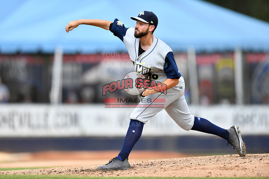Columbia Fireflies starting pitcher Luc Rennie (30) delivers a pitch during game one of a double header against the Asheville Tourists at McCormick Field on August 4, 2018 in Asheville, North Carolina. The Tourists defeated the Fireflies 5-1. (Tony Farlow/Four Seam Images)