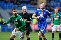 (L-R) Martin Montoya of Brighton and Joe Ralls of Cardiff City in action during the Premier League match between Cardiff City and Brighton & Hove Albion at the Cardiff City Stadium, Cardiff, Wales, UK. Saturday 10 November 2018