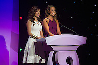 NEW YORK, NY - Sunday February 21, 2016: Jenny Taft and Adriana Monsalve host during the Copa America Centenario draw ceremony at the Hammerstein Ballroom in midtown Manhattan, New York City.