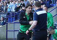 Bolton Wanderers Manager Phil Parkinson receives a wink from Nottingham Forest's Manager Aitor Karanka<br /> <br /> Photographer Rachel Holborn/CameraSport<br /> <br /> The EFL Sky Bet Championship - Bolton Wanderers v Nottingham Forest - Sunday 6th May 2018 - Macron Stadium - Bolton<br /> <br /> World Copyright &copy; 2018 CameraSport. All rights reserved. 43 Linden Ave. Countesthorpe. Leicester. England. LE8 5PG - Tel: +44 (0) 116 277 4147 - admin@camerasport.com - www.camerasport.com