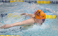 Cherokee's Sammie Carroll competes in the 100 meter butterfly event during a state semifinal swim meet against Bridgewater High School at the College of New Jersey Wednesday, February 18, 2015 in Ewing, New Jersey. (Photo by William Thomas Cain/Cain Images)