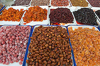 Selection of dried fruits for sale at the market in the Muslim District of Danqingzhen Si Xian