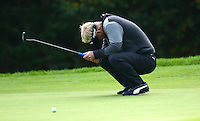 Soren Kjeldsen of Denmark reacts to a missed putt on the 14th green during Round 4 of the 2015 British Masters at the Marquess Course, Woburn, in Bedfordshire, England on 11/10/15.<br /> Picture: Richard Martin-Roberts | Golffile