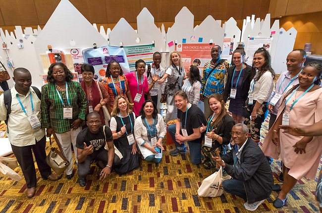 27 June, 2018, Kuala Lumpur, Malaysia : The Choice Alliance before the poster session in The Village on the third day at the Girls Not Brides Global Meeting 2018 at the Kuala Lumpur Convention Centre. Picture by Graham Crouch/Girls Not Brides