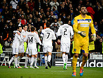 Real Madrid's team celebrates a goal during the Champions league football match Real Madrid vs Ludogorets at the Santiago Bernabeu stadium in Madrid on december 9, 2014. DP / Photocall3000