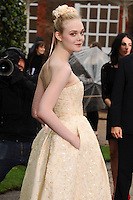 "Elle Fanning arrives for the ""Maleficent"" costume display opening at Kensington Palace, London. 08/05/2014 Picture by: Steve Vas / Featureflash"