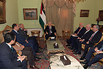 Palestinian President Mahmoud Abbas meets with secretary General of the League of Arab States Abo Al Gheit in Cairo, Egypt on January 31, 2020. Photo by Thaer Ganaim