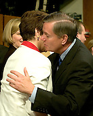 Washington, D.C. - January 12, 2006 -- Martha-Ann Bomgardner, wife of Judge Samuel A. Alito, shares a hug with United States Senator Lindsey Graham (Republican of South Carolina) following the fourth day of her husband's testimony before the United States Senate Judiciary Committee on his nomination to be Associate Justice of the United States Supreme Court in Washington, D.C. on January 12, 2006.  It was during Senator Graham's remarks on Wednesday, January 11, 2006 that Ms. Bomgardner became emotional and had to leave the room..Credit: Ron Sachs / CNP