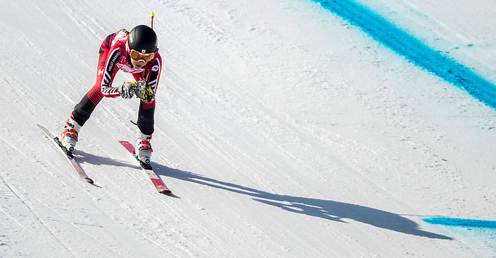 PyeongChang 11/3/2018 - Erin Latimer skis in the women's standing super-G at the Jeongseon Alpine Centre during the 2018 Winter Paralympic Games in Pyeongchang, Korea. Photo: Dave Holland/Canadian Paralympic Committee