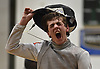 Michael DeSando of Ward Melville reacts after the winning the boys foil portion of the Brentwood Holiday Tournament at Brentwood High School on Saturday, Dec. 15, 2018.