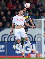 FUSSBALL   1. BUNDESLIGA  SAISON 2012/2013   13. Spieltag FC Augsburg - Borussia Moenchengladbach           25.11.2012 Sascha Moelders (li, FC Augsburg) gegen Martin Stranzl  (Borussia Moenchengladbach)