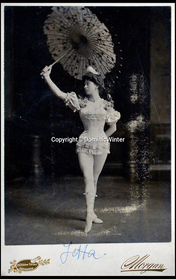 BNPS.co.uk (01202 558833)Pic: DominicWinter/BNPS<br /> <br /> Mademoiselle Yetta the 'mid-air performer'<br /> <br /> These remarkable photos capture life in a 19th century touring circus which twice performed for the Queen.<br /> <br /> The collection of over 150 images tells the story of the circus of 'Lord' George Sanger who performed for Queen Victoria at Sandringham in 1885 and at Balmoral Castle in 1898. <br /> <br /> One remarkable photo shows the whole troupe of 30 performers in front of the circus ring with the acrobats forming a three people high human pyramid in the background.<br /> <br /> Tragically, in 1911 Sanger was murdered with a hatchet at his home at Park Farm, Finchley, by employee Herbert Charles Cooper, who then committed suicide.
