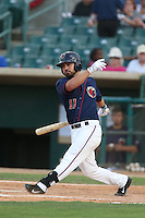 Jack Mayfield #11 of the Lancaster JetHawks bats against the Inland Empire 66ers during a playoff game at The Hanger on September 7, 2014 in Lancaster, California. Lancaster defeated Inland Empire, 5-2. (Larry Goren/Four Seam Images)