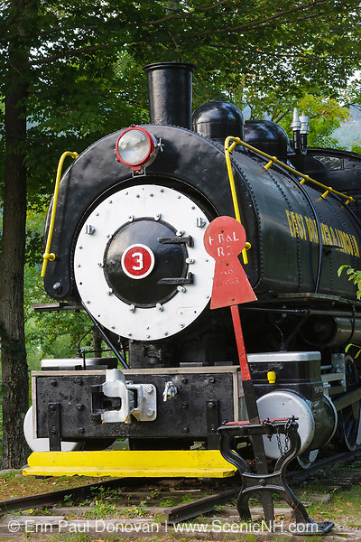 Porter 50 ton saddle tank engine locomotive on display at Loon Mountain along the Kancamagus Scenic Byway in Lincoln, New Hampshire.