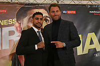 Amir Khan and Eddie Hearn during a Press Conference at the Dorchester Hotel on 10th January 2018