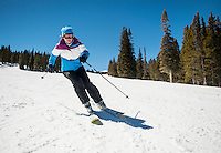 Stéphanie Souron (cq) skiing at Breckenridge, Colorado, Wednesday March 21, 2012...Photo by Matt Nager