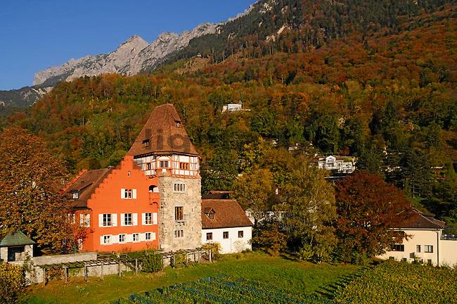 Hochstativfoto vom Roten Haus in Vaduz, Liechtenstein..Foto: Paul Trummer, Mauren, Liechtenstein