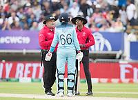 Joe Root (England) discusses with Marais Erasmus, Umpire  and Kumar Dharmasena, Umpire the dismissal of Jason Roy during Australia vs England, ICC World Cup Semi-Final Cricket at Edgbaston Stadium on 11th July 2019