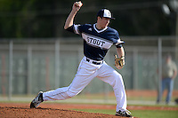UW-Stout Blue Devils pitcher Zach Carlson (32) during the first game of a doubleheader against the Edgewood Eagles on March 16, 2015 at Lee County Player Development Complex in Fort Myers, Florida.  UW-Stout defeated Edgewood 6-1.  (Mike Janes/Four Seam Images)