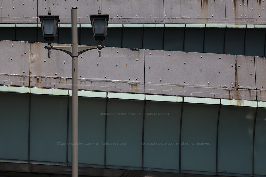 Streetlights and overpass ramps in Nihonbashi, Tokyo, Japan. Friday April 25th 2014