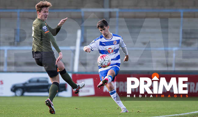 Shane Griffin of Reading plays a pass during the Barclays U21 Premier League match between Reading and Everton at Adams Park, High Wycombe, England on 9 December 2015. Photo by Andy Rowland.