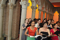 KATONAH, NY - JUL 8: Members of the St. Luke's Orchestra led by Will Crutchfield and opera singers Angela Meade, Keri Alkema, Emmanuel Di Vilarosa and Daniel Mobbs perform a rehearsal of Bellini's Norman at Caramoor's Venetian Theater on Thursday, July, 8, 2010, in Katonah, NY. (Photo by Landon Nordeman)