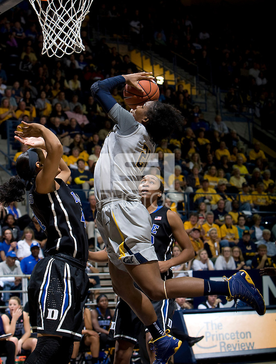 Reshanda Gray of California shoots the ball during the game against Duke at Haas Pavilion in Berkeley, California on November 10th, 2013.    Duke defeated California, 70-58.