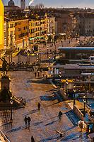 Overview of Riva degli Schiavoni (promenade along the waterfront), Venice, Italy.