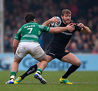 Exeter Chiefs' Gareth Steenson evades the tackle of Newcastle Falcons' John Hardie<br /> <br /> Photographer Bob Bradford/CameraSport<br /> <br /> Gallagher Premiership - Exeter Chiefs v Newcastle Falcons - Saturday 23rd February 2019 - Sandy Park - Exeter<br /> <br /> World Copyright © 2019 CameraSport. All rights reserved. 43 Linden Ave. Countesthorpe. Leicester. England. LE8 5PG - Tel: +44 (0) 116 277 4147 - admin@camerasport.com - www.camerasport.com