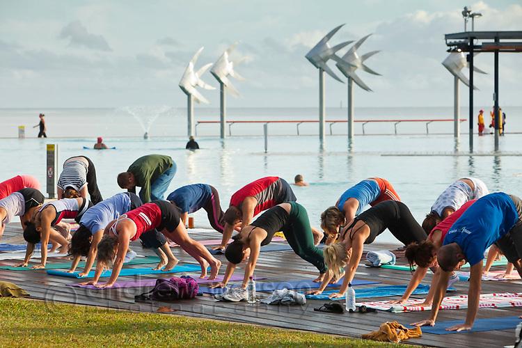 Morning yoga class at the Esplanade Lagoon.  Cairns, Queensland, Australia