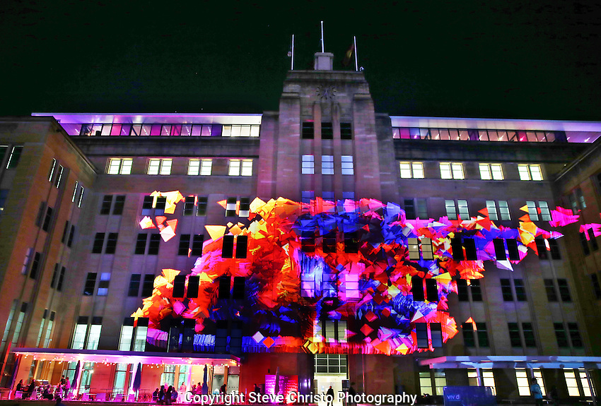 Vivid Sydney:  A Festival of Light, Music and ideas on the foreshore of Sydney Harbour. The facade of the Museum of Contemporary Art Australia becomes a canvas with 3D architectural projections. Sydney, Australia. Wednesday May 29th 2013. Photo:( Steve Christo).