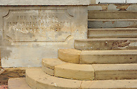 NWA Democrat-Gazette/ANDY SHUPE<br /> Damage is evident Friday, Aug. 21, 2015, on the portico and steps on the east side of Old Main on the University of Arkansas campus in Fayetteville. University officials are considering a course of action to repair or replace the damaged sections.