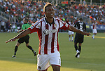 05 June 2012: Chivas USA's Juan Agudelo celebrates his first half goal. The Carolina RailHawks (NASL) lost 1-2 to Club Deportivo Chivas USA (MLS) at WakeMed Soccer Stadium in Cary, NC in a 2012 Lamar Hunt U.S. Open Cup fourth round game.