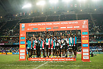 Fiji Team celebrates winning the Cup Final at the prize presentation as part of the HSBC Hong Kong Rugby Sevens 2018 on April 8, 2018 in Hong Kong, Hong Kong. Photo by Marcio Rodrigo Machado / Power Sport Images