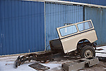 Spain 1991. Broken up spanish Land Rover Santana 109 Hard Top. --- No releases available. Automotive trademarks are the property of the trademark holder, authorization may be needed for some uses. --- Info: From the mid 1950's untill the early 1990's the english Land Rover was also built under license in Spain. The spanish company Metalurgica de Santa Ana (later to become Santana Motor SA), was producing Land Rovers in the beginning from CKD kits, but local content was gradually increased until the Santanas (this is how they were called) were 100 per cent locally manufactured.