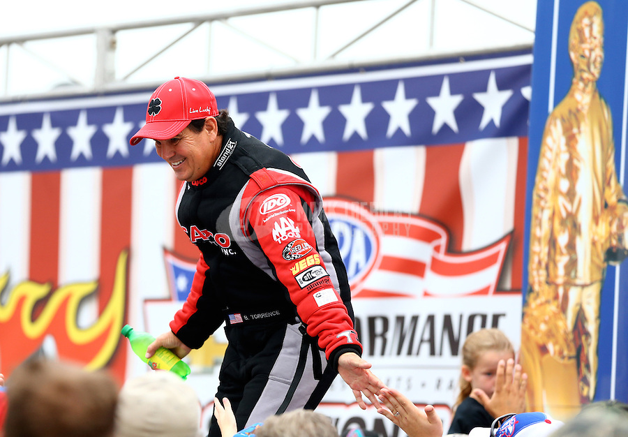 Sept. 2, 2013; Clermont, IN, USA: NHRA top fuel dragster driver Billy Torrence during the US Nationals at Lucas Oil Raceway. Mandatory Credit: Mark J. Rebilas-