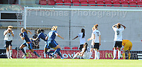 Sandie Toletti of France scores her sides first goal during the UEFA Womens U19 Final at Parc y Scarlets Saturday 31st August 2013. All images are the copyright of Jeff Thomas Photography-www.jaypics.photoshelter.com-07837 386244-Any use of images must be authorised by the copyright owner.