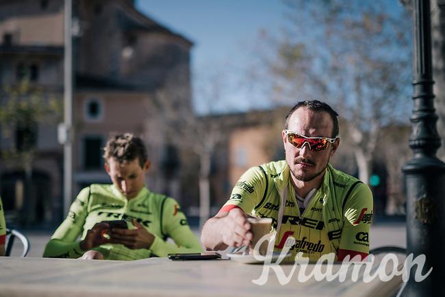 John Degenkolb (DEU/Trek-Segafredo) during coffee-brake at Team Trek-Segafredo Mallorca training camp <br /> <br /> January 2018