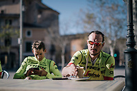 John Degenkolb (DEU/Trek-Segafredo) during coffee-brake at Team Trek-Segafredo Mallorca training camp <br /> <br /> January 2018