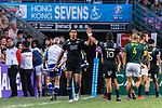 Salesi Rayasi of New Zealand (L) celebrates score with Isaac Te Tamaki (R) during the HSBC Hong Kong Sevens 2018 Bronze Medal Final match between South Africa and New Zealand on 08 April 2018 in Hong Kong, Hong Kong. Photo by Marcio Rodrigo Machado / Power Sport Images