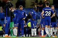 Chelsea Manager, Antonio Conte explains to Cesar Azpilicueta that they need to walk round the edge of the pitch to applaud the home fans during Chelsea vs Huddersfield Town, Premier League Football at Stamford Bridge on 9th May 2018