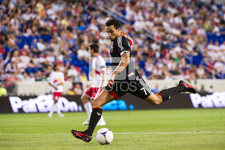 Dwayne De Rosario (7) of DC United. The New York Red Bulls defeated DC United 3-2 during a Major League Soccer (MLS) match at Red Bull Arena in Harrison, NJ, on June 24, 2012.