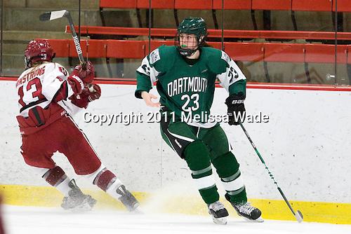 Kalley Armstrong (Harvard - 13), Moira Scanlon (Dartmouth - 23) - The visiting Dartmouth College Big Green defeated the Harvard University Crimson 3-2 on Wednesday, November 23, 2011, at Bright Hockey Center in Cambridge, Massachusetts.