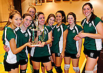 14 November 2010: The Vermont Commons School girls volleyball team hold the trophy after their victory in the 2010 Vermont State Volleyball Championships at Saint Michael's College in Colchester, Vermont. Participating schools included: the Enosburg Falls Hornets, the Lake Region Union Rangers, the Lyndon Institute Vikings, and the VCS Flying Turtles. The Boys Championship went to Lake Region Union High School, and for the third year in a row, the Girls Championship went to the Vermont Commons School. Mandatory Credit: Ed Wolfstein Photo